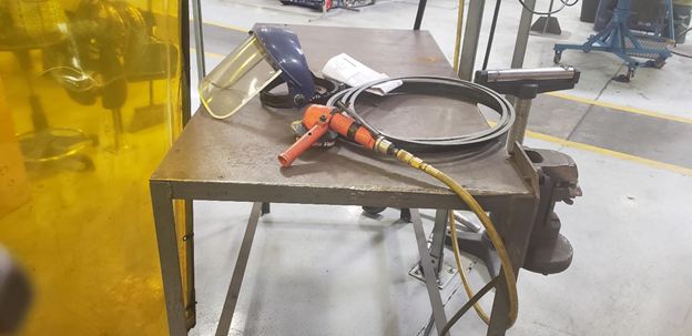Never leave equipment on the floor – Make sure face shield is kept clean.
